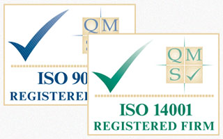 ISO 9001 and ISO 14001 logos