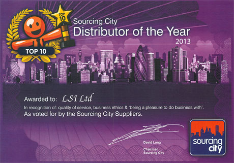 Sourcing City Distributor of the Year Certificate