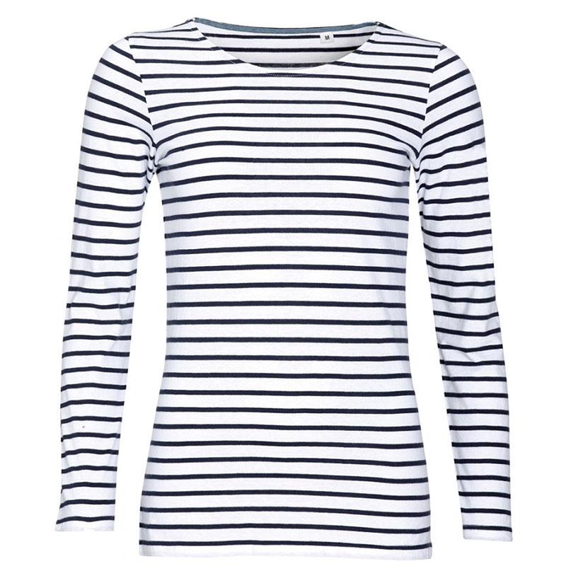 SOL'S Ladies Marine Long Sleeve Striped T-Shirt