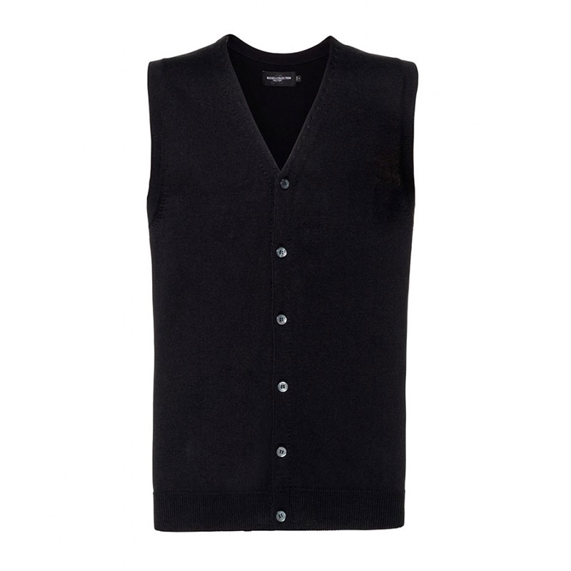 Russell Collection Sleeveless Cotton Acrylic V Neck Cardigan