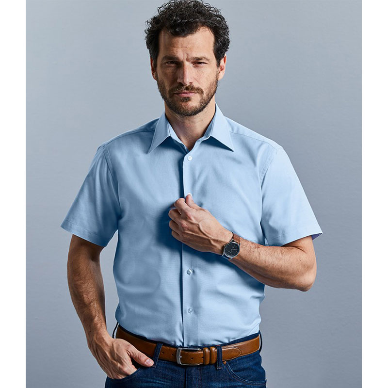 Russell Collection Short Sleeve Tailored Oxford Shirt