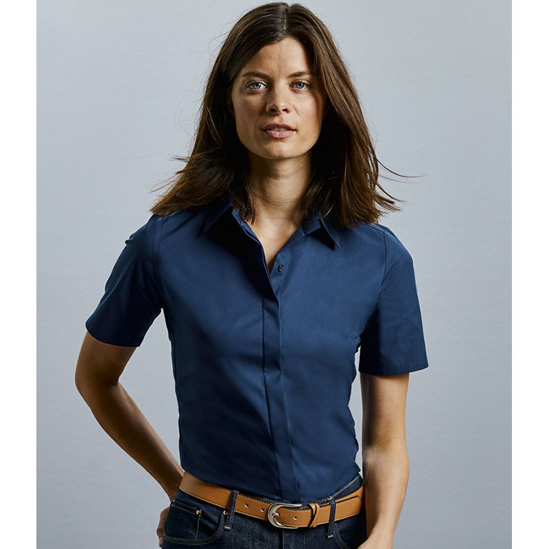 Russell Collection Ladies Short Sleeve Ultimate Stretch Shirt