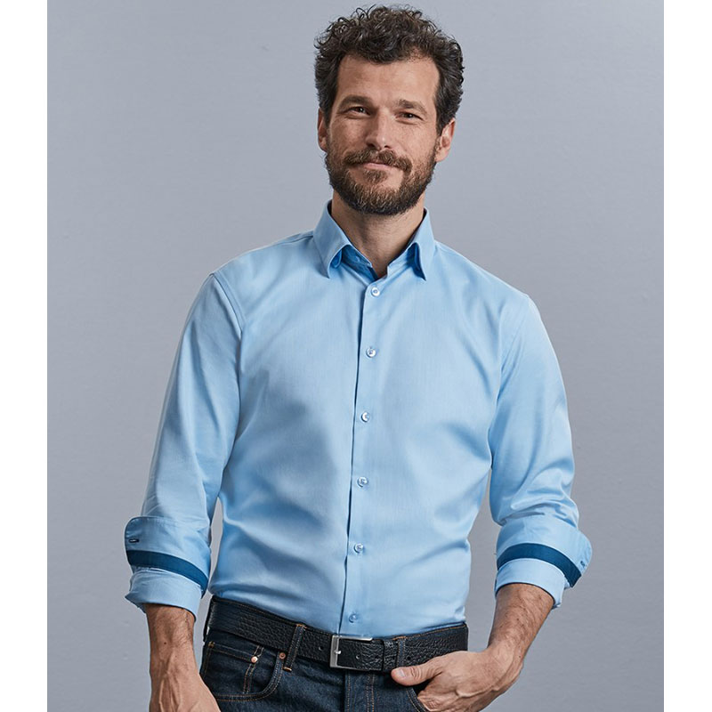 Russell Collection Long Sleeve Contrast Herringbone Shirt