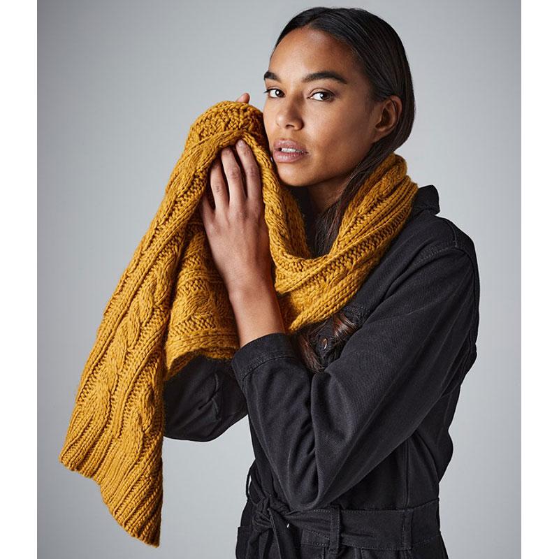 Beechfield Cable Knit Melange Scarf