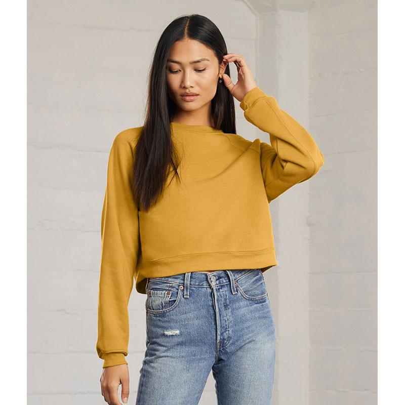 Bella Ladies Raglan Cropped Pullover Sweatshirt