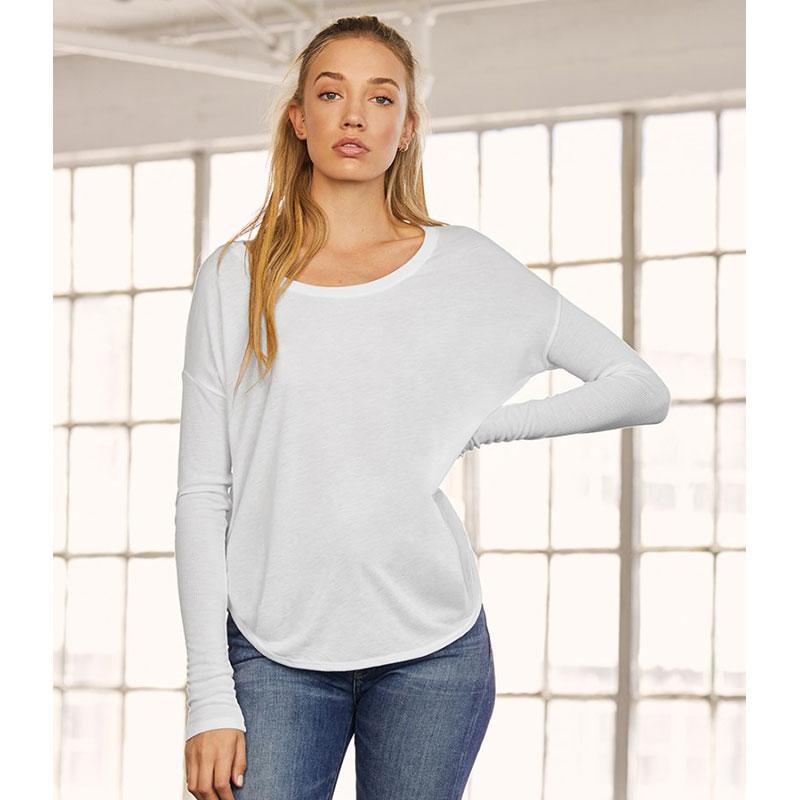Bella Ladies Flowy 2x1 Long Sleeve T-Shirt