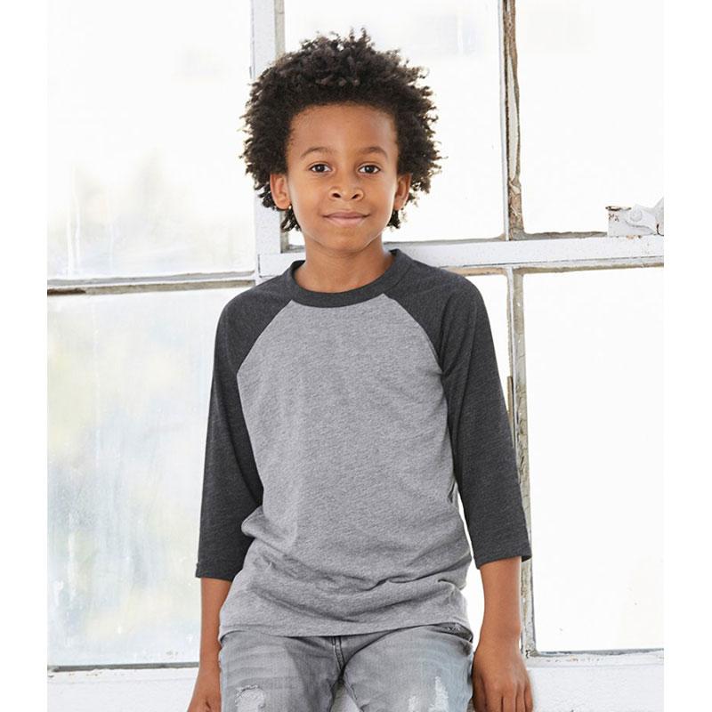 Canvas Youths 3/4 Sleeve Baseball T-Shirt