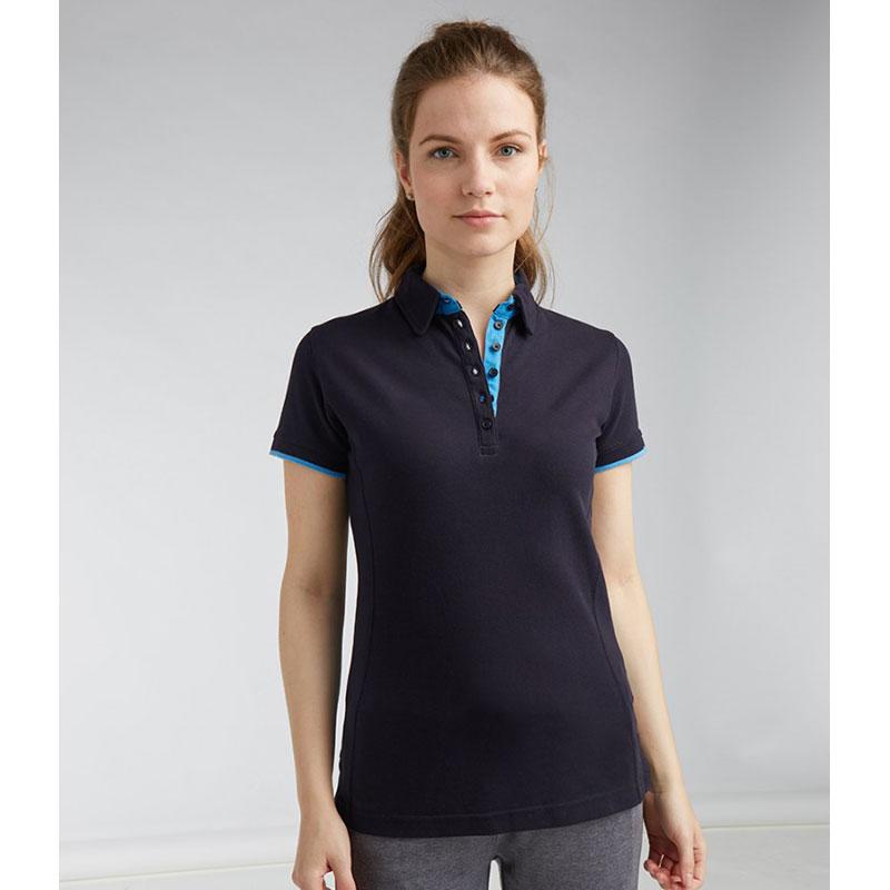 Front Row Ladies Contrast Cotton Piqué Polo Shirt