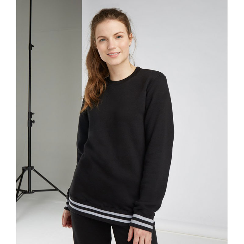 Front Row Unisex Striped Cuff Sweatshirt