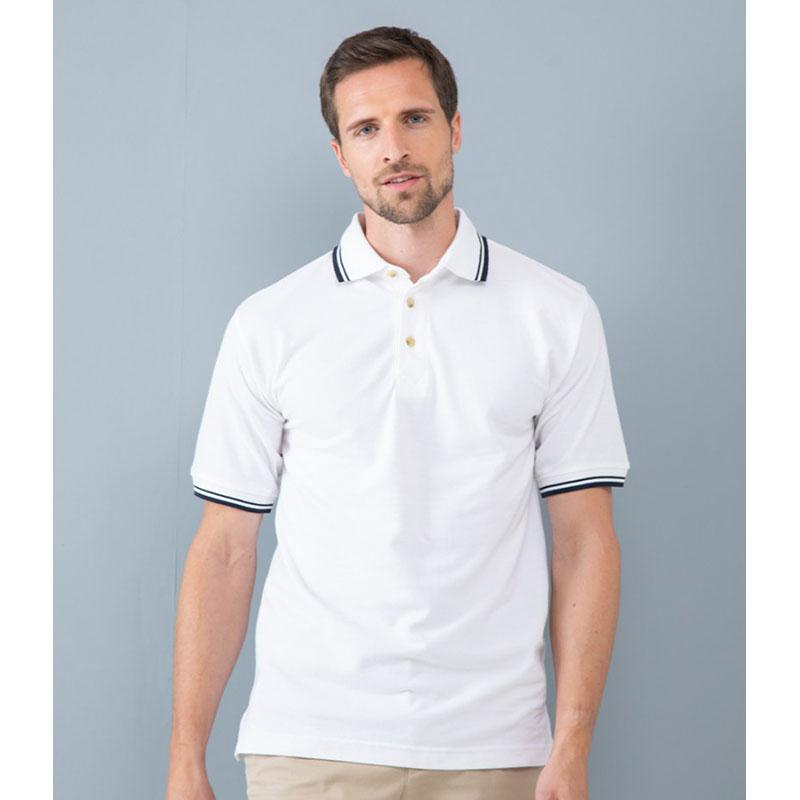 Henbury Contrast Double Tipped Cotton Piqué Polo Shirt