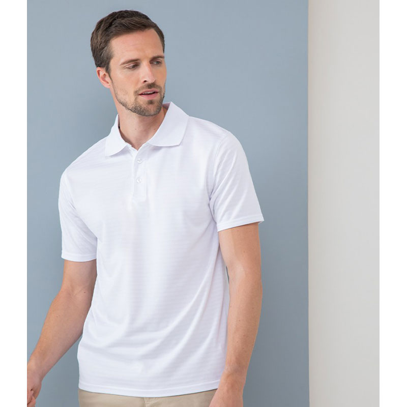 Henbury Coolplus® Textured Stripe Piqué Polo Shirt