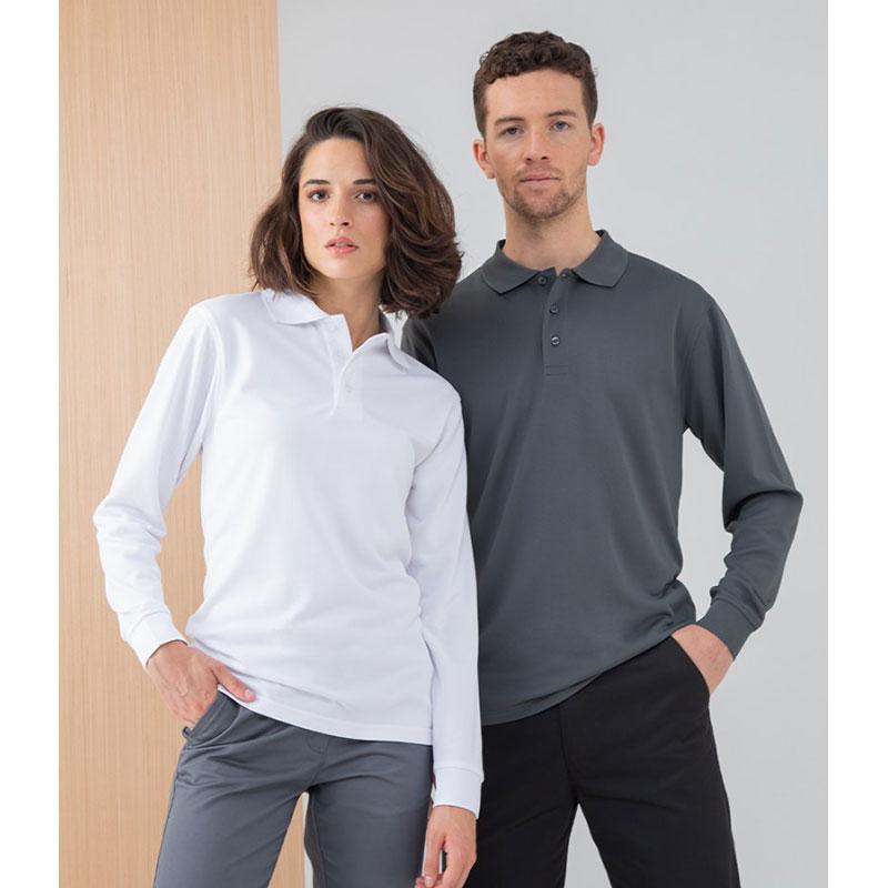 Henbury Unisex Long Sleeve Coolplus® Piqué Polo Shirt