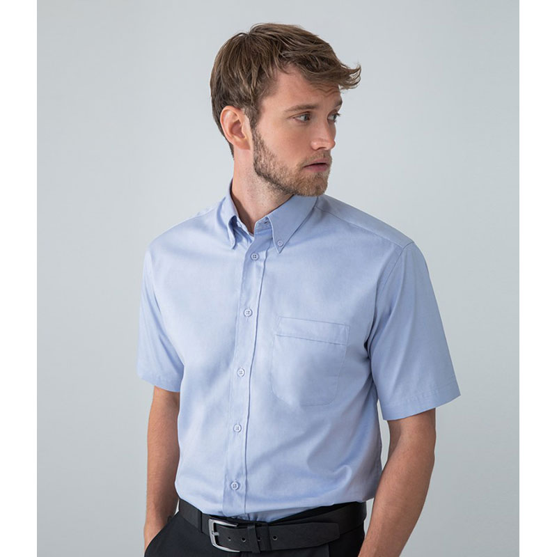 Henbury Short Sleeve Pinpoint Oxford Shirt