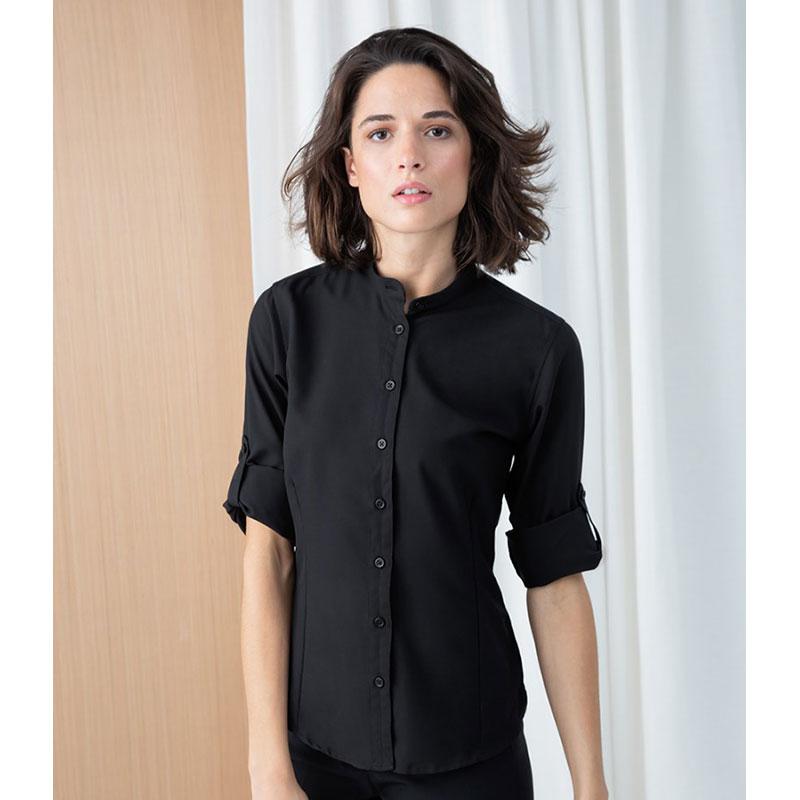 Henbury Ladies Mandarin Roll Sleeve Anti-Bac Wicking Shirt