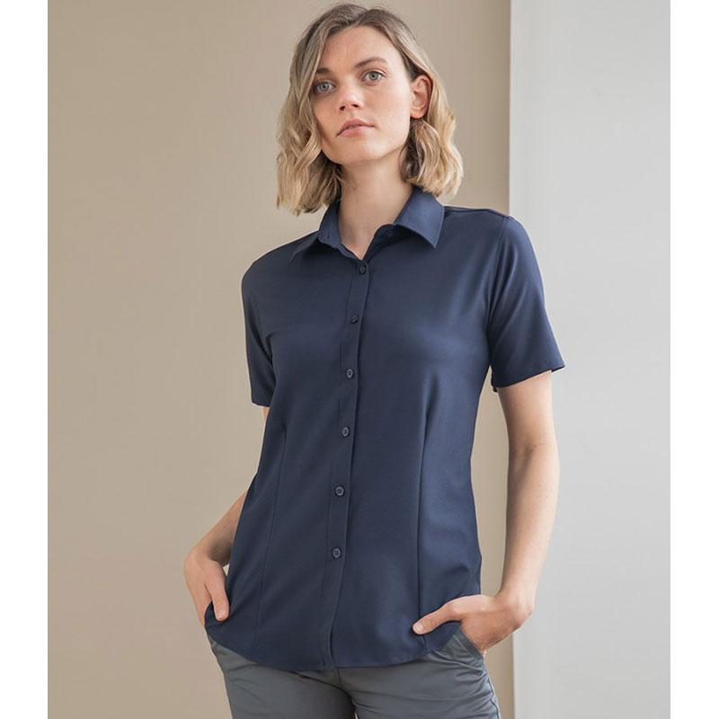 Henbury Ladies Short Sleeve Wicking Shirt