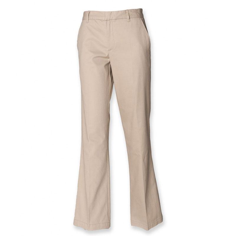 Henbury Ladies Flat Fronted Chino Trousers