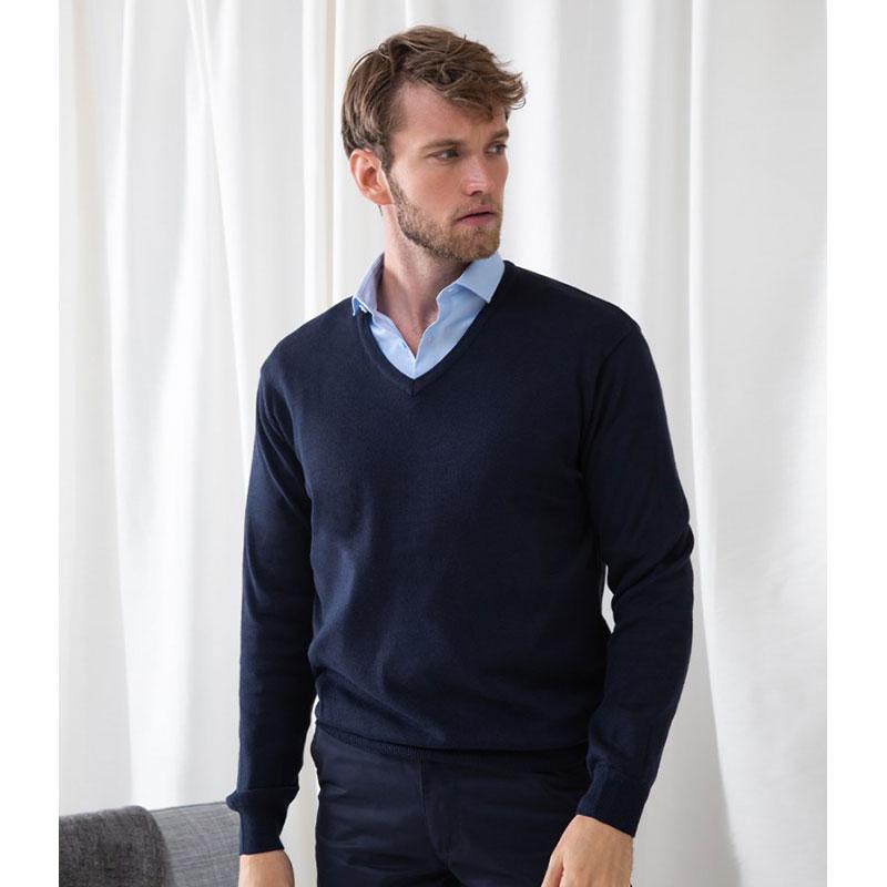 Henbury Lightweight Cotton Acrylic V Neck Sweater