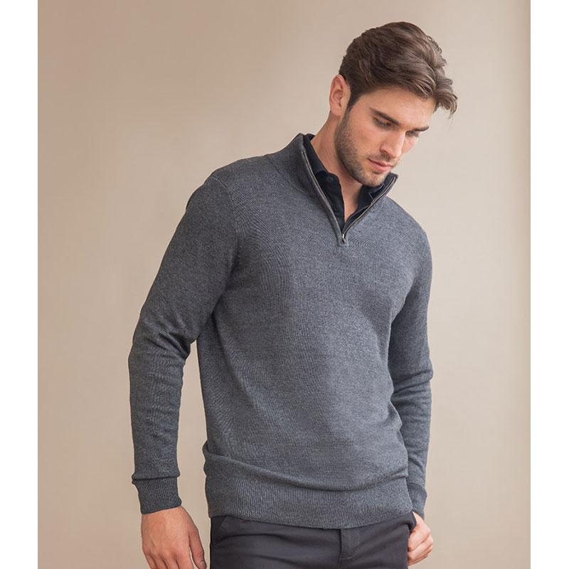 Henbury Zip Neck Sweater