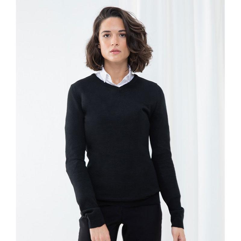 Henbury Ladies Acrylic V Neck Sweater