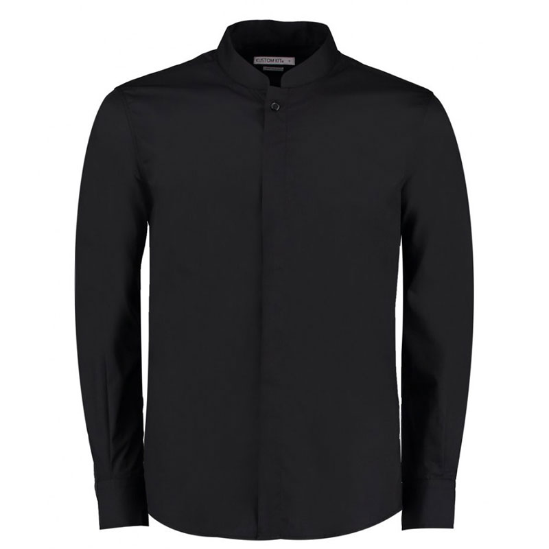 Kustom Kit Long Sleeve Tailored Mandarin Collar Shirt