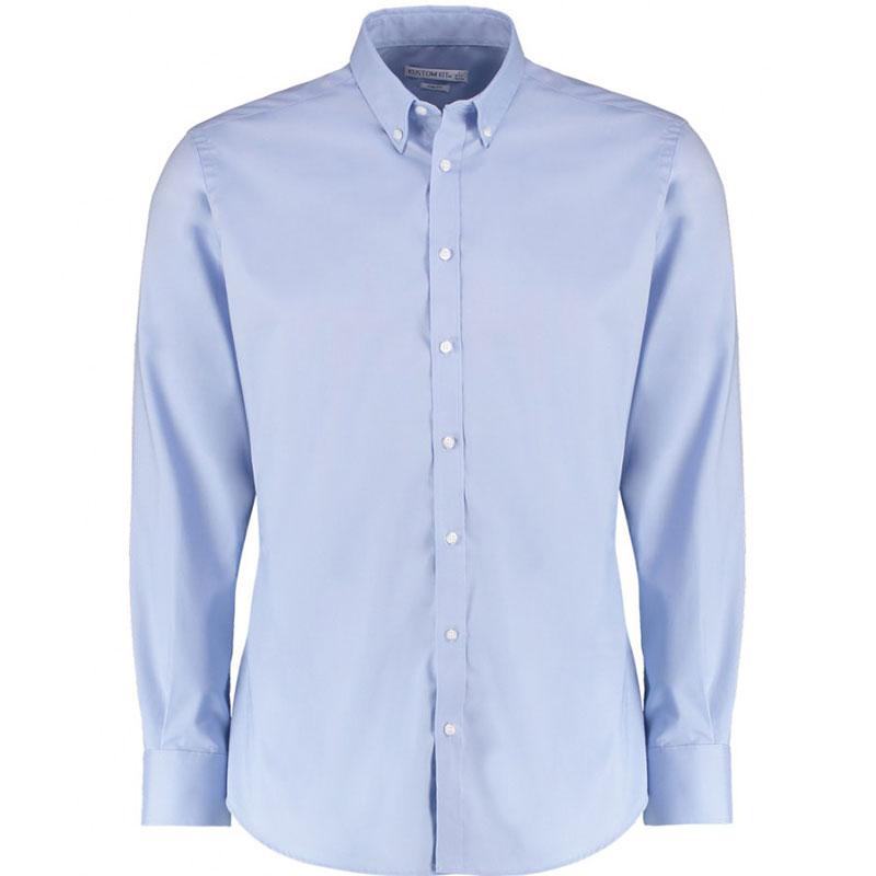Kustom Kit Slim Fit Stretch Long Sleeve Oxford Shirt