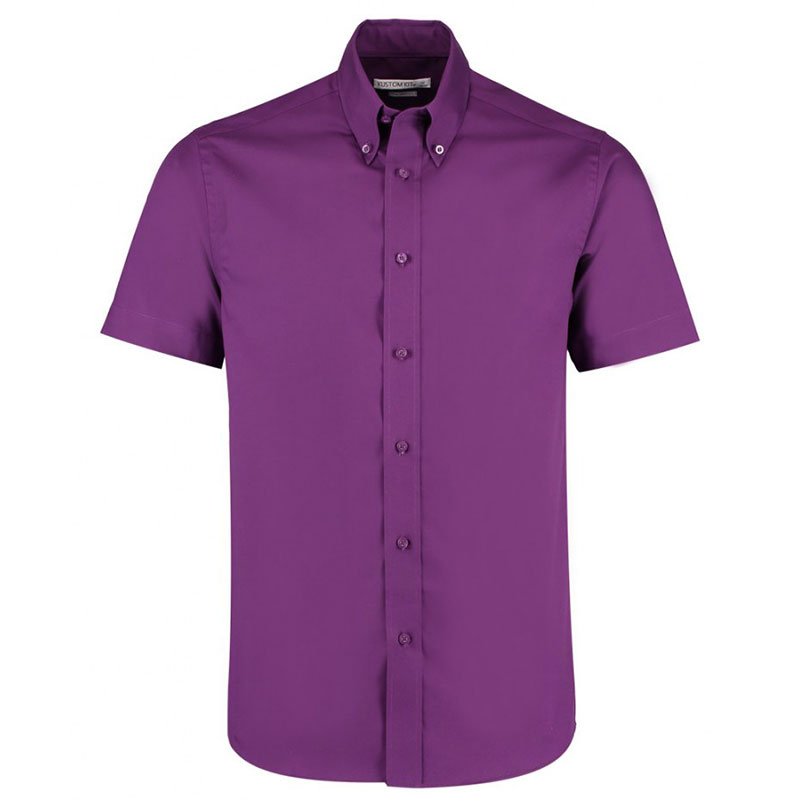 Kustom Kit Premium Short Sleeve Tailored Oxford Shirt