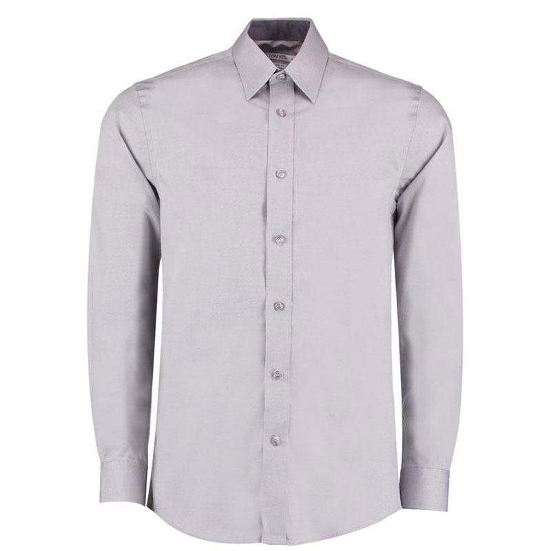 Kustom Kit Premium Contrast Long Sleeve Tailored Oxford Shirt