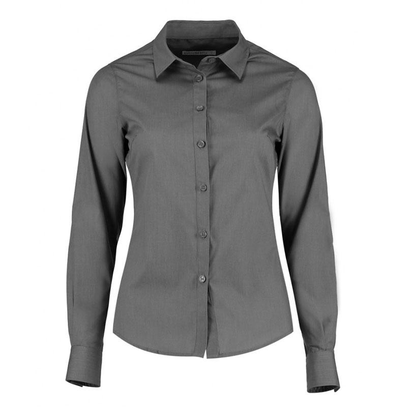 Kustom Kit Ladies Long Sleeve Tailored Poplin Shirt