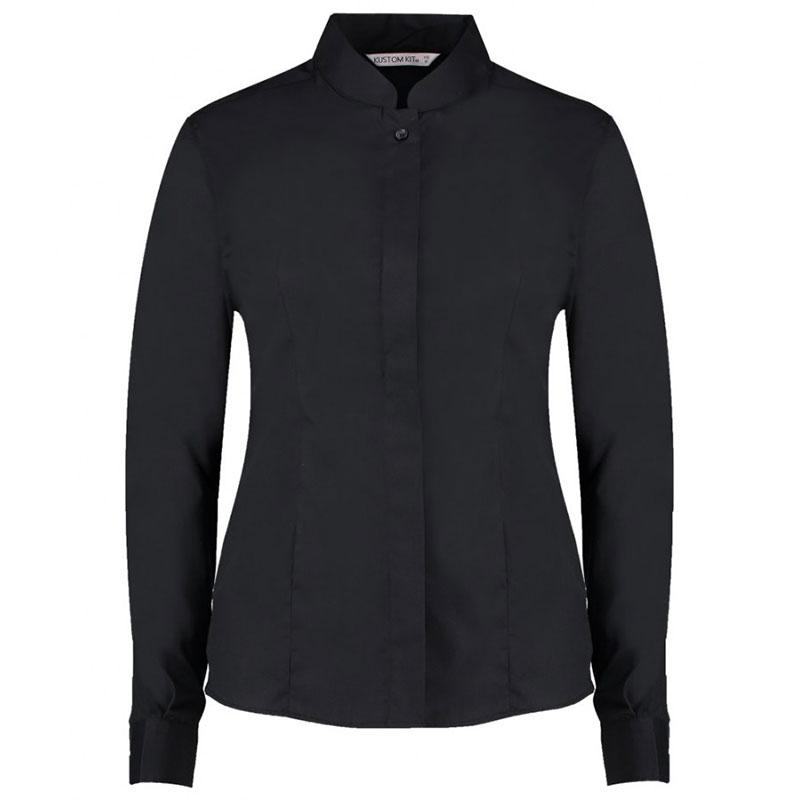 Kustom Kit Ladies Long Sleeve Tailored Mandarin Collar Shirt