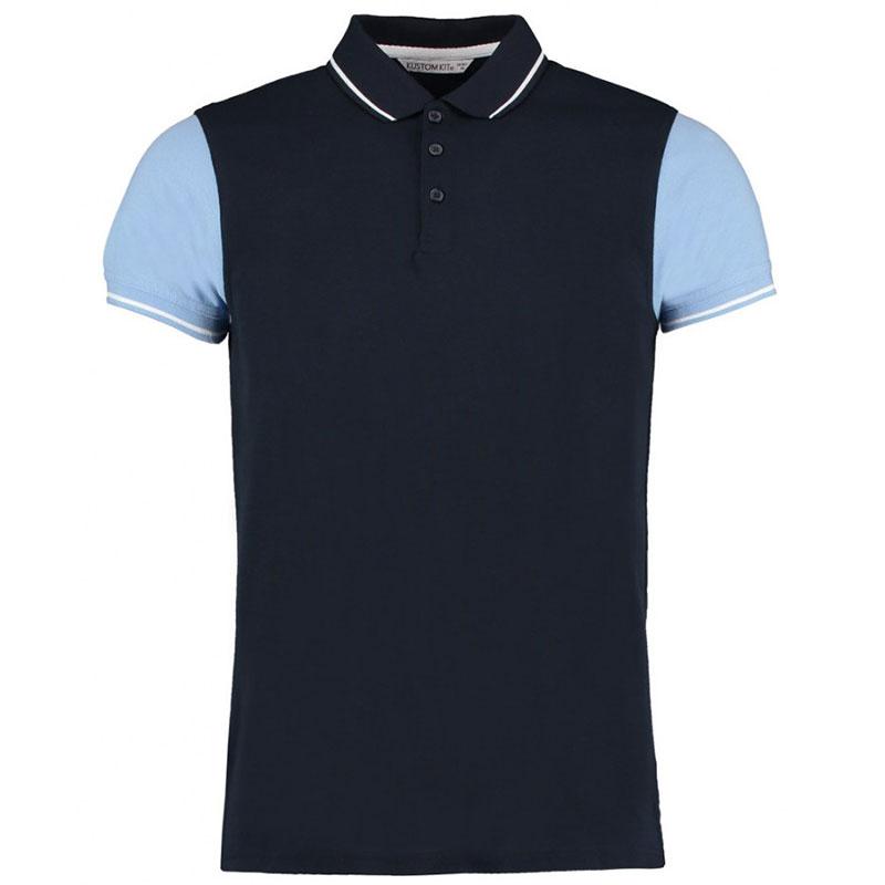 Kustom Kit Contrast Tipped Piqué Polo Shirt