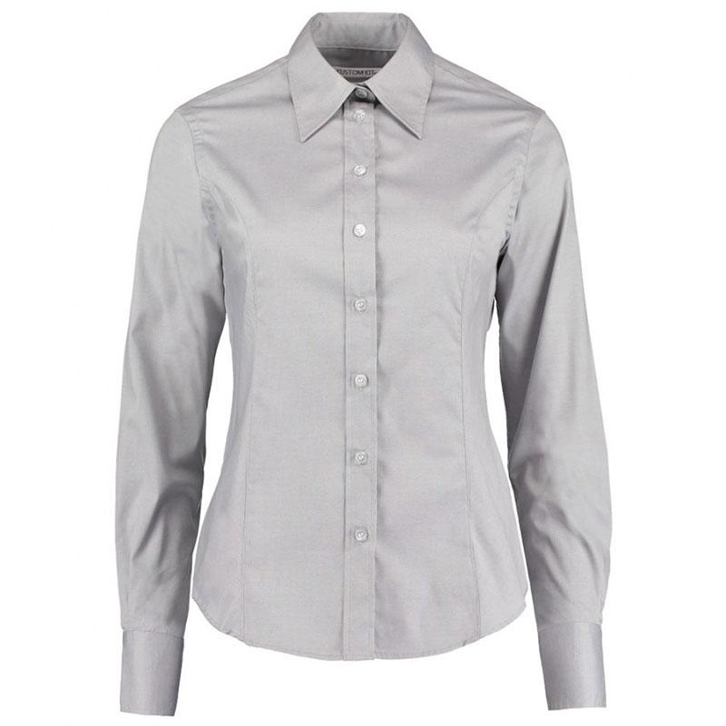 Kustom Kit Ladies Premium Long Sleeve Tailored Oxford Shirt