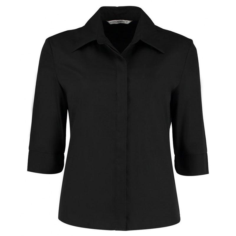 Kustom Kit Ladies 3/4 Sleeve Tailored Continental Shirt