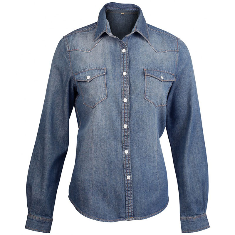Kariban Ladies Long Sleeve Denim Shirt