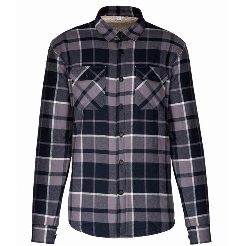 Kariban Sherpa Lined Checked Shirt Jacket