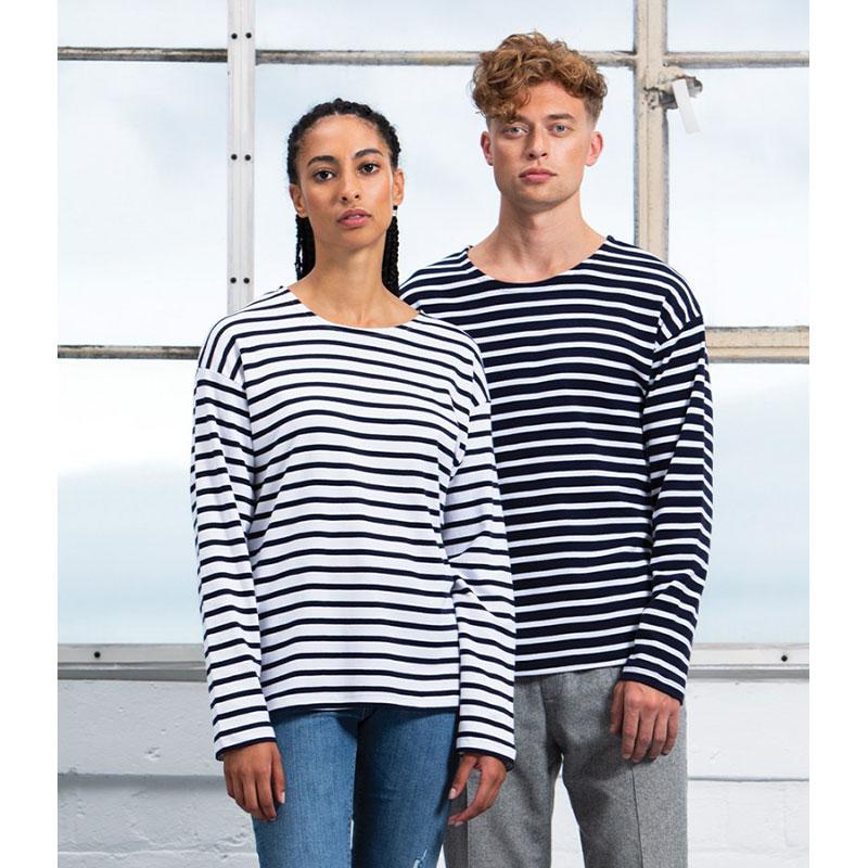 One By Mantis Unisex Long Sleeve Breton Stripe T-Shirt