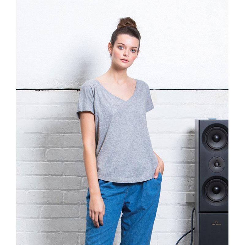 Mantis Ladies Loose Fit V Neck T-Shirt
