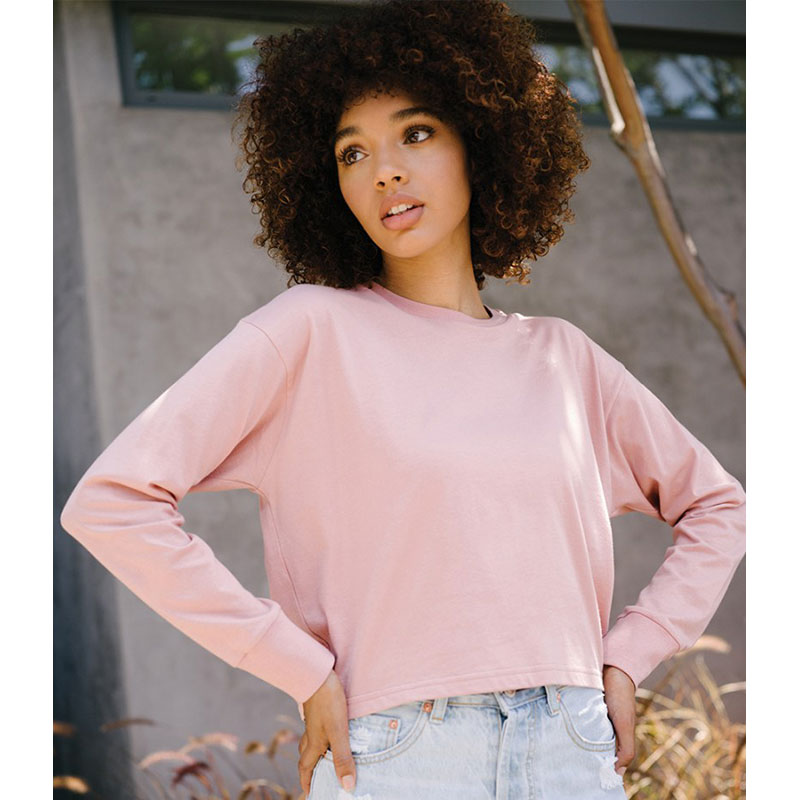 Next Level Ladies Long Sleeve Cropped T-Shirt