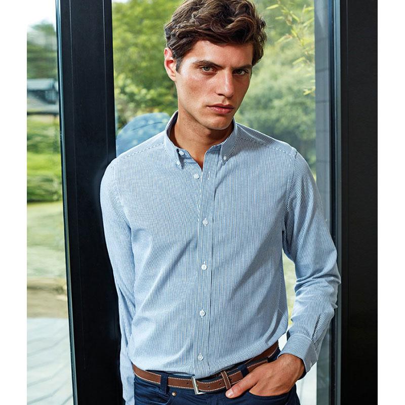 Premier Long Sleeve Striped Oxford Shirt