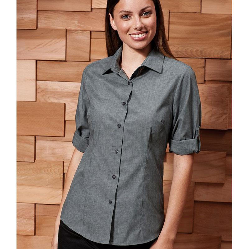 Premier Ladies Cross-Dye Roll Sleeve Shirt