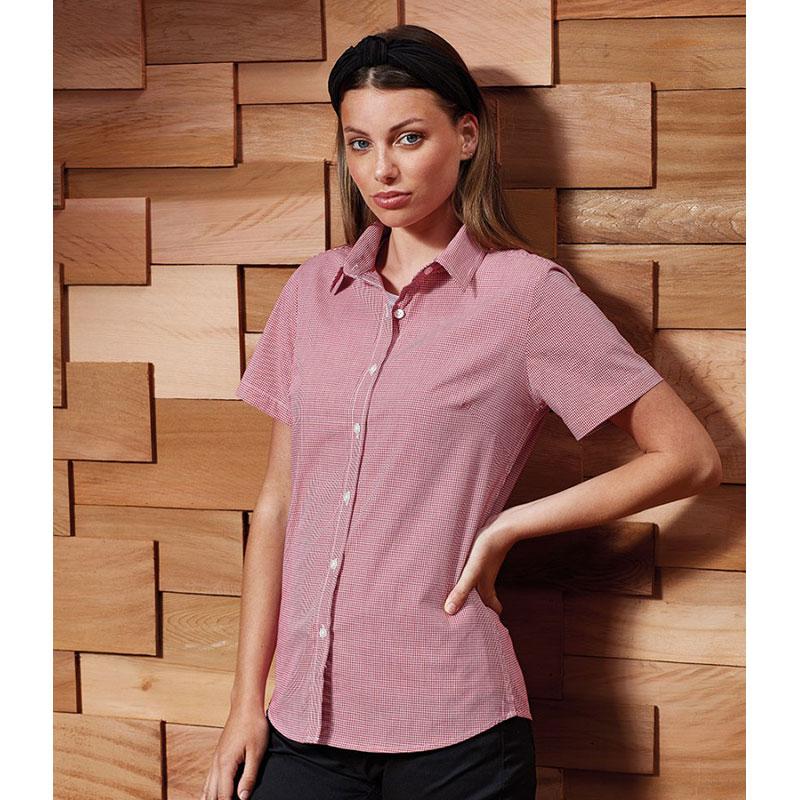 Premier Ladies Gingham Short Sleeve Shirt