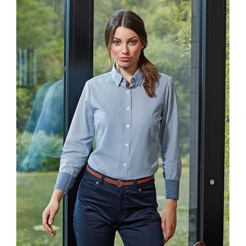 Premier Ladies Long Sleeve Striped Oxford Shirt