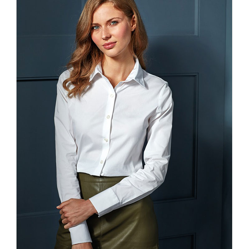 Premier Ladies Long Sleeve Stretch Fit Poplin Shirt