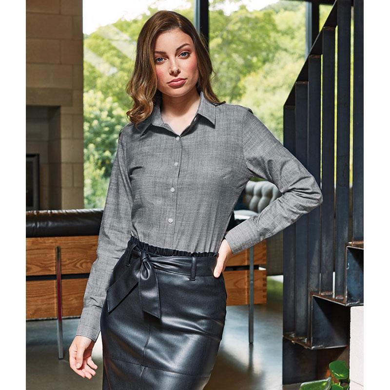 Premier Ladies Long Sleeve Chambray Shirt