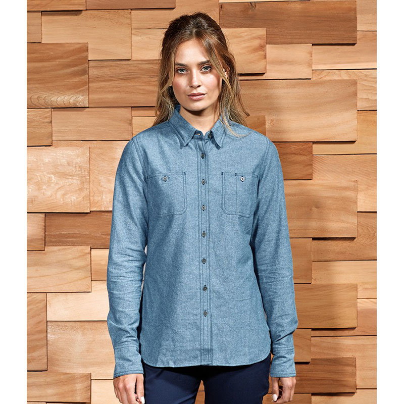 Premier Ladies Organic Fairtrade Certified Long Sleeve Chambray Shirt