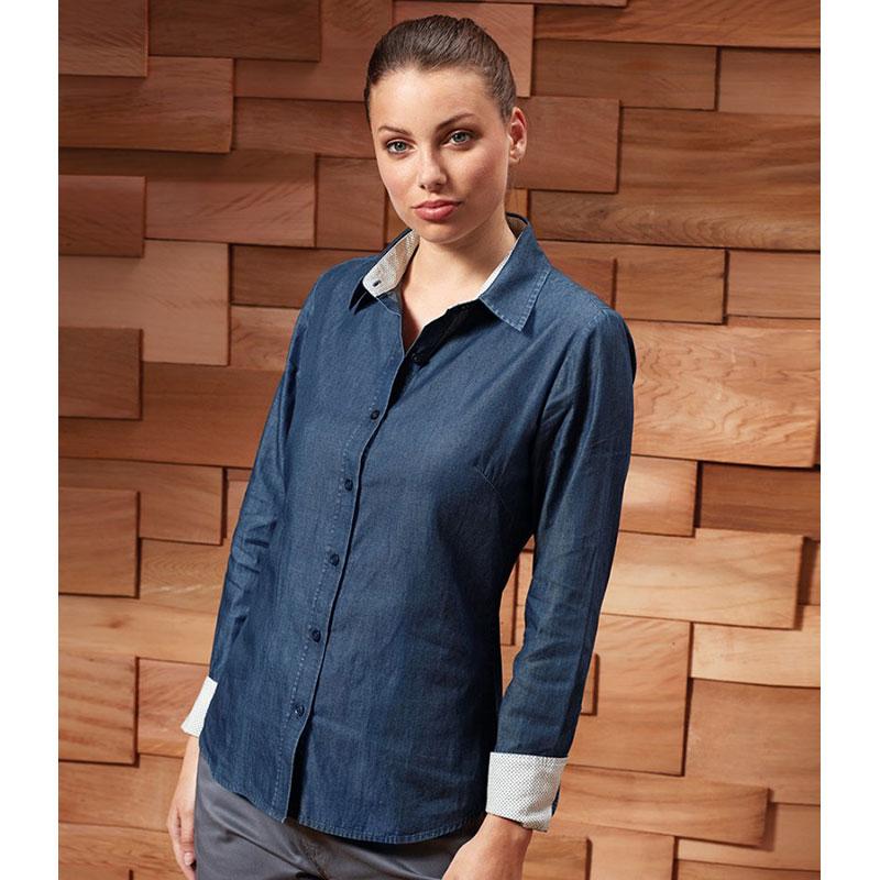 Premier Ladies Long Sleeve Denim-Pindot Shirt