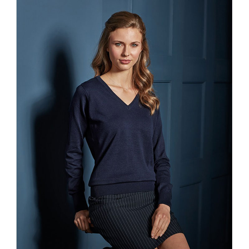 Premier Ladies Knitted Cotton Acrylic V Neck Sweater