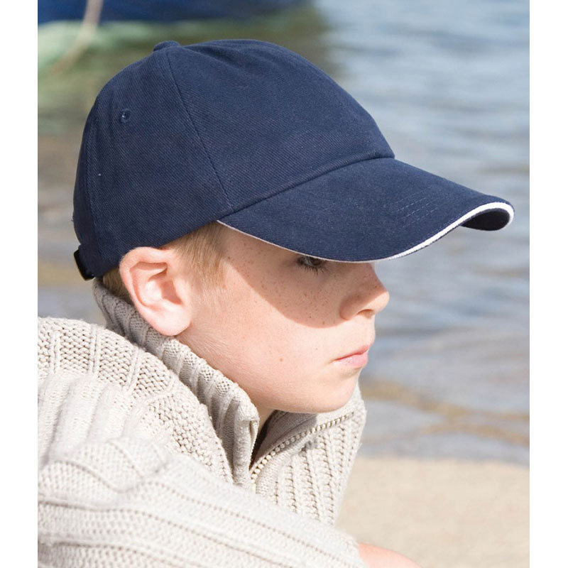 Result Kids Low Profile Heavy Brushed Cotton Cap with Sandwich Peak