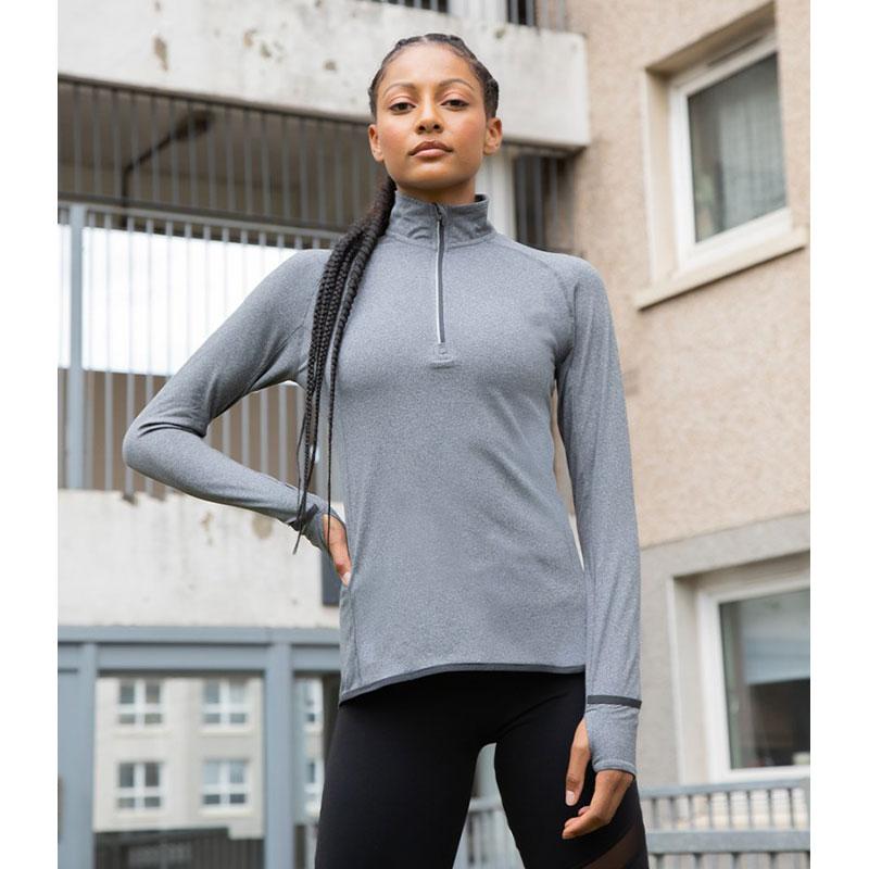 Tombo Ladies Long Sleeve Zip Neck Performance Top