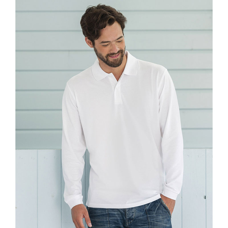 Russell Classic Long Sleeve Cotton Pique Polo Shirt