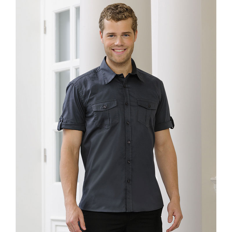 Russell Collection Short Sleeve Twill Roll Shirt